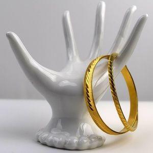 Monet Bangle Bracelets Gold Tone Engraved Slim Set